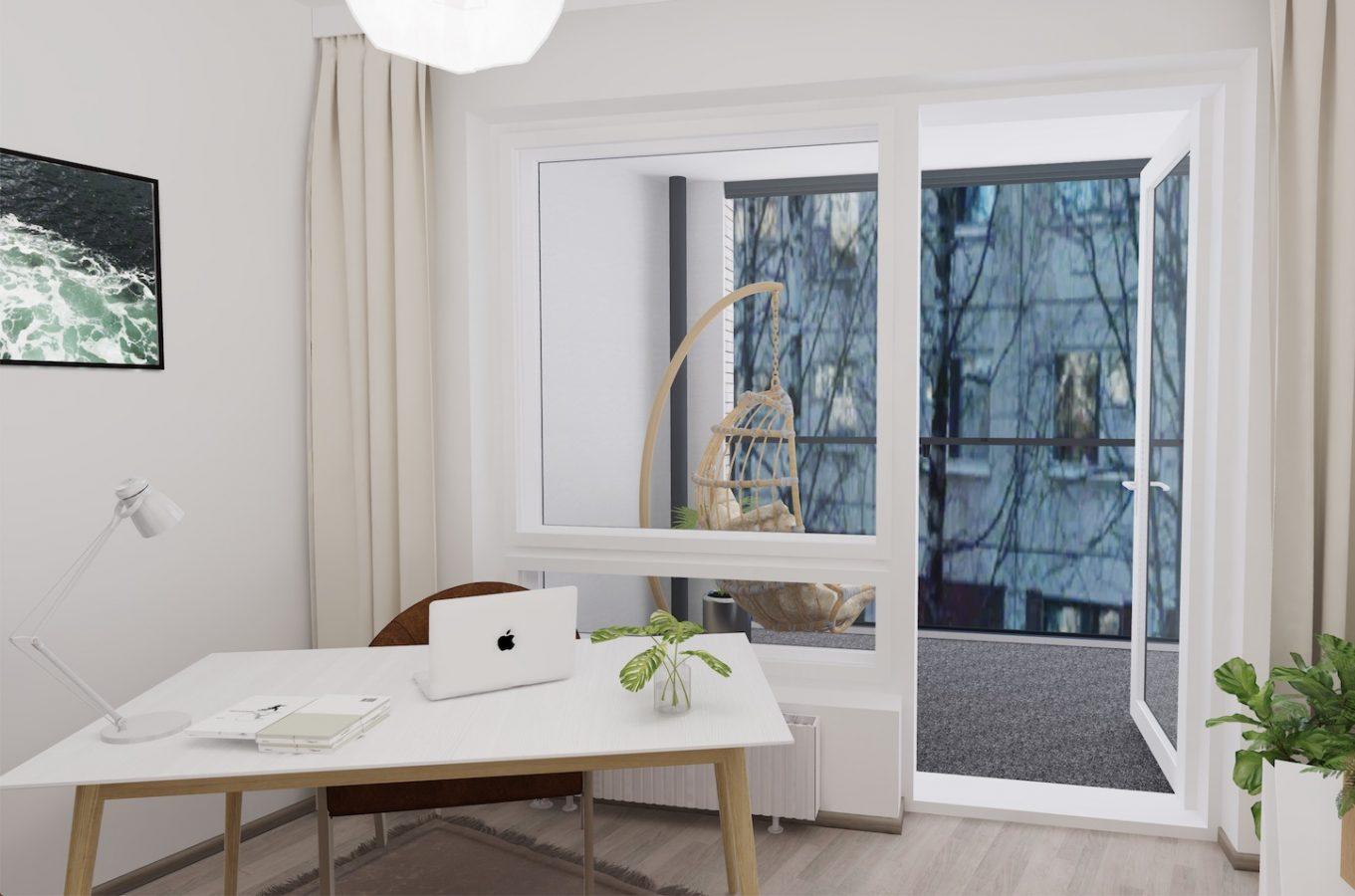 Solmukuja 3 A 55 - Mallikuvat ovat vastaavasta huoneistosta 2. kerroksesta. A55 näkymät ovat esteettömät